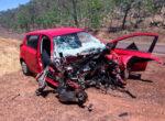 Road train and caravan involved in crash